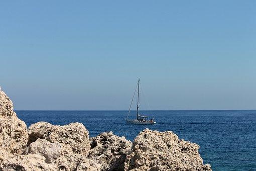 Sailing Vessel, Ship, Sea, Blue, Coast, Greece, Rhodes