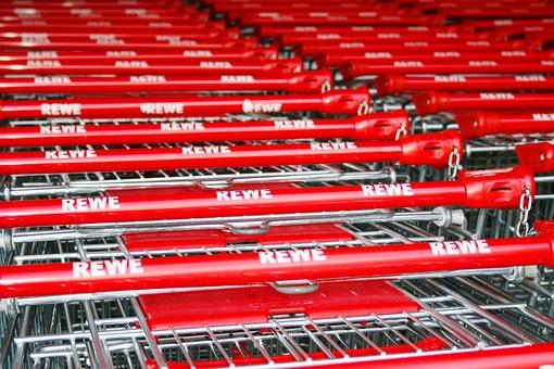 Shopping Cart, Supermarket, Red, Car Handle, Purchasing