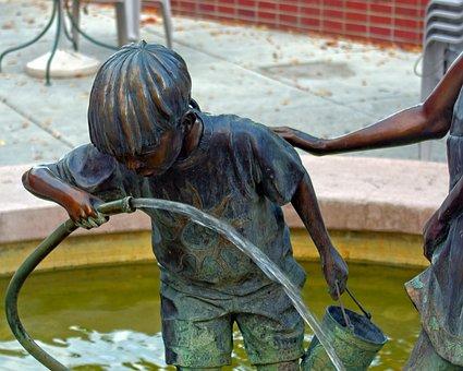 Sip N' Splash Bronze, Sculpture, Bronze, Male, Statue