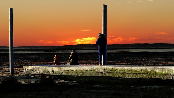 Sunset, Pier, Sea, Water, Sky, Ocean, Twilight, Tide