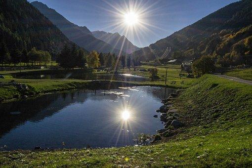 Sun, Backlight, Sky, Sunset, Nature, Landscape, Water