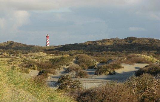 Lighthouse, Dunes, Sea, North Sea, Beach, Texel, Coast