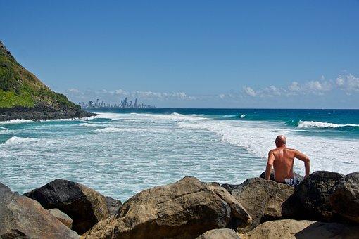 Surf, View, Ocean, City, Horizon, Outlook, Beach, Wave