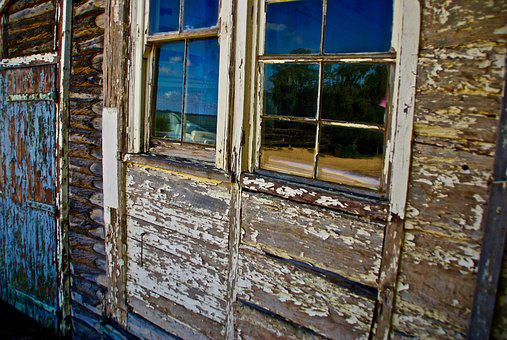 Weathered, Stripped, Old, Peeling, Paint, Window