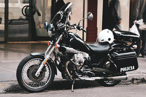 Black Motorcycle, A Motorcycle Police Officer