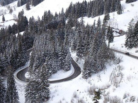 Serpentine, Yoke Road, Snowy, Snow, Allgäu, Alpine