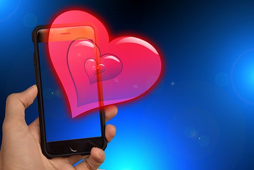 Heart, Smartphone, Hand, Send, Color, Background