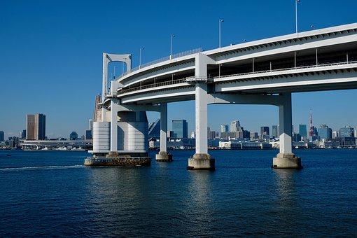 Bridge, Sea, Ship, Travel, Bay Area, Blue, White Urban
