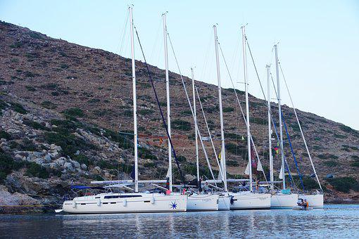 Fleet, Sail, Greece, Sea, Summer, Vacations, Boat
