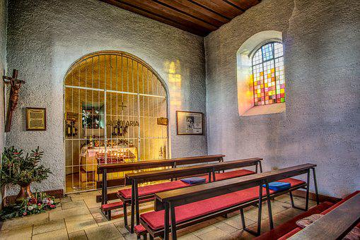 Chapel, Benches, Pray, Church, Religion, Architecture
