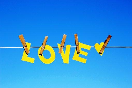 Love, Heart, Clothes Peg, Clothes Line