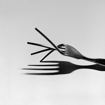 Villa, Shadow, Metal, Cutlery, Art, White, Black