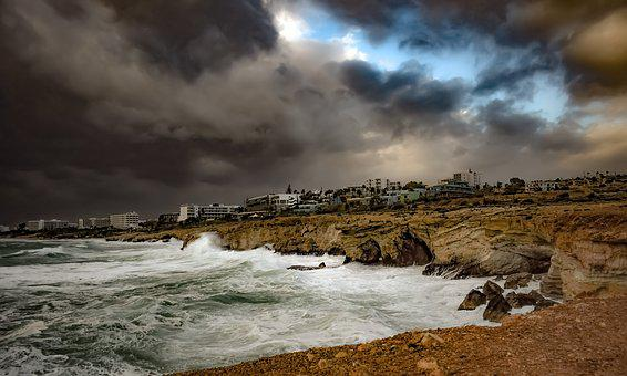 Cyprus, Ayia Napa, Coast, Sea, Storm, Stormy Weather