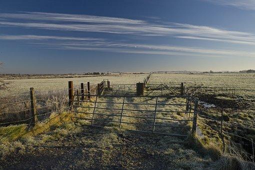 Winter, Frost, Field, Sky, Rural, Ireland, Gate, Fence