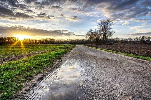 Sunset, Sun, Sky, Clouds, Field, Meadow, Landscape