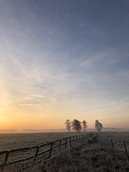 Winter, Landscape, Sunrise, Sky, Wintry, Nature, Mood