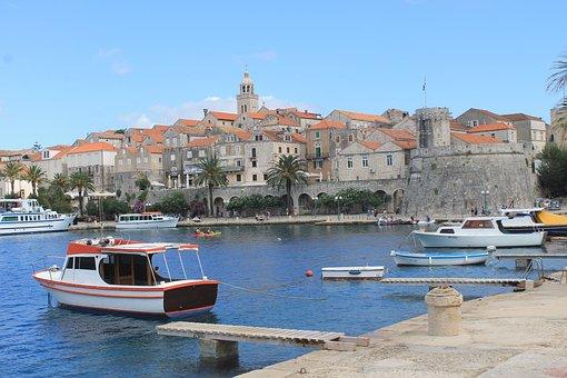 Croatia, Korcula, Water, Sea, Port, Pier, Ship, Old