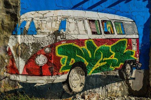 Car, Volkswagen, Vintage, Graffiti, Retro, Wall, Old