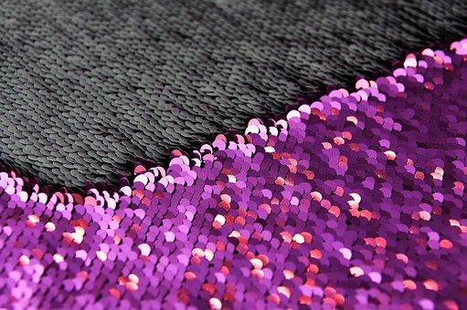 Sequins, Pillowcase, White, Purple, Platelets