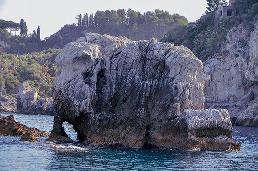 Rock, Elephant, Sea, Taormina, Sicily, Italy, Travel