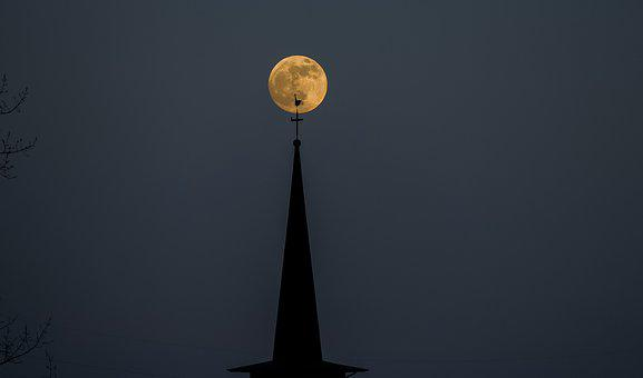 Moon, Church, Night, Architecture, Gothic, Dark, Tower