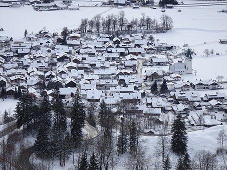 Village, Alpine, Alpine Village, Valley, Snowy, Winter