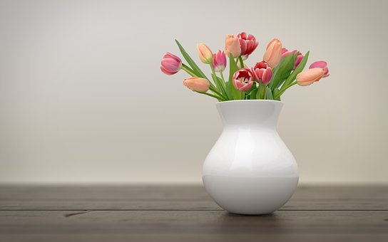 Tulips, Vase, Vintage, Retro, Wall, Wood, Flowers