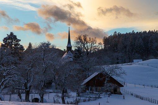 Chapel, Chappeli, Wintry, Grenchen, Landscape, Clouds