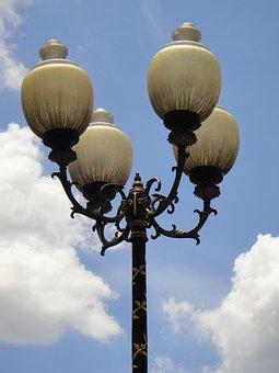 Park, Lamps, Lights, Sky, Decorative, Antique, Street