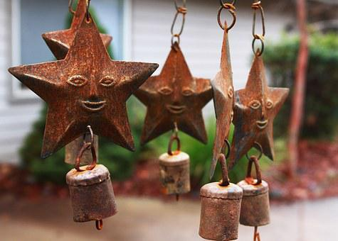Wind Chimes, Star, Iron, Metal, Bells, Face, Sculpture