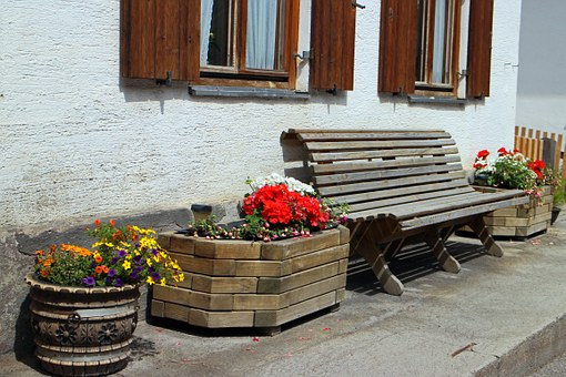 Bench, Wooden Bench, Out, Bank, Sit, Home, Hauswand