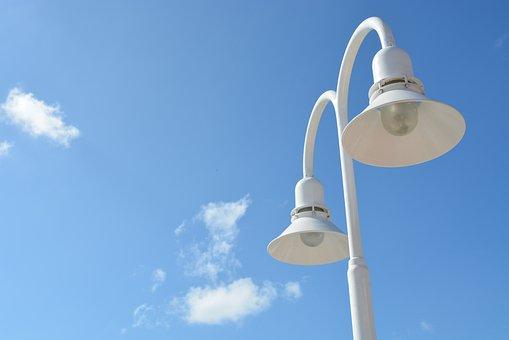 Street Lights, Sky, Blue, Clouds, City, Light, Lamp