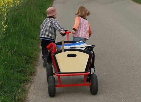 Stroller, Children, Walk, Dare, Personal, Go, Run