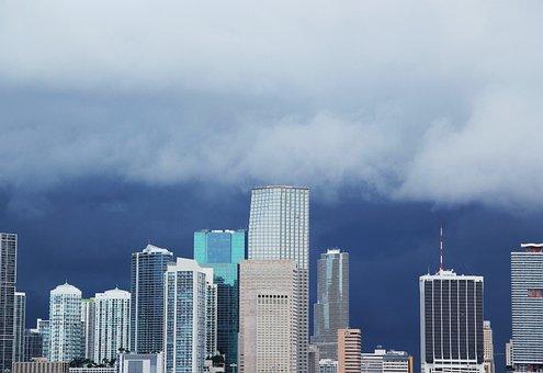 Miami-skyline, Anrollendes Storm, Clouds, Sky