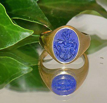 Signet Ring, Coat Of Arms, Old, 1649, Lapis Lazuli