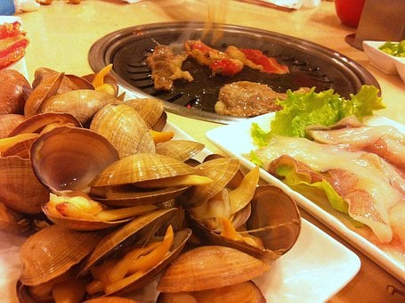 Seafood, Barbecue, Hot, Pork Belly, Roast, Meat, Flame