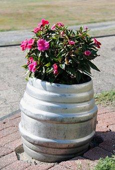 Flowers, Beer Keg, Planters, Plant, Nature