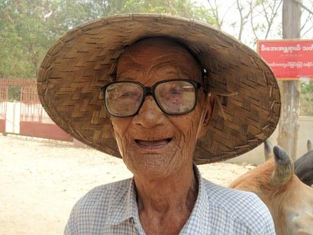 Myanmar, Burma, Man, Glasses, Have Low Vision, Wrinkles