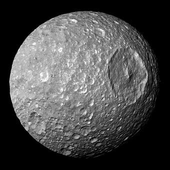 Moon, Saturn, Mimas, Space, Asteroid, Meteor, Crater