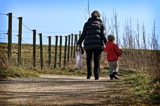 Pair, Mother, Child, Parents, Away, Walk, Go, For Two
