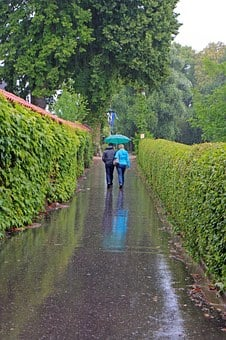 Walk, Rain, Rained Out, Personal, Pair, Umbrella, Wet