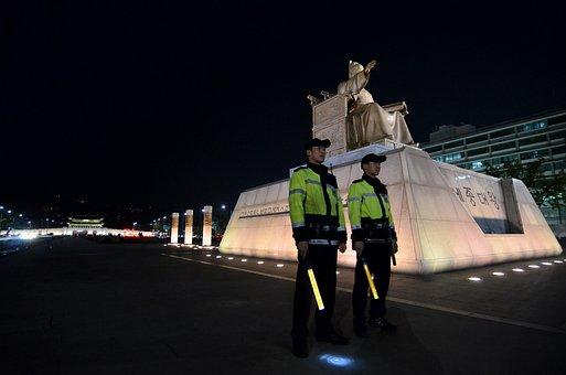 King Sejong The Great, Gwanghwamun, Square, Police