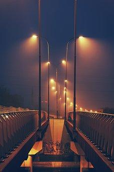 Streetlights, Night, Sky, Lodz, Polska, Polsnd, Street