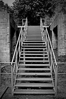 Stairs, Rise, Gradually, Staircase, Railing, Upward
