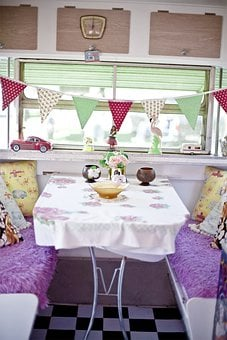 Mobile Home, Caravan, Rv, Kitchen, Dining Table