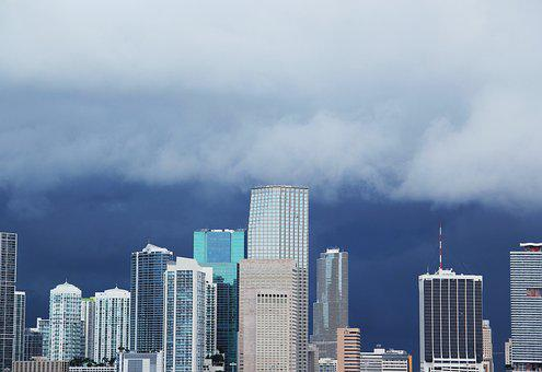 Miami-skyline, Anrollendes Storm, Clouds, Sky
