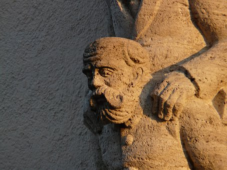 Man, Bart, Hand, Faces, Stone, Stonemasonry, Profile
