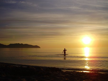 Woman, Swim, Water, Person, Sun, Back Light, Sea