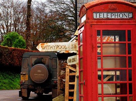 Phone, Phone Box, Countryside, Sign Post, Telephone