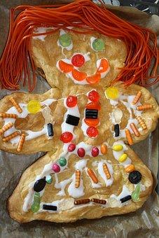 Gingerbread Man, Vandbakkelsel, Cake, Lace Up, Candy